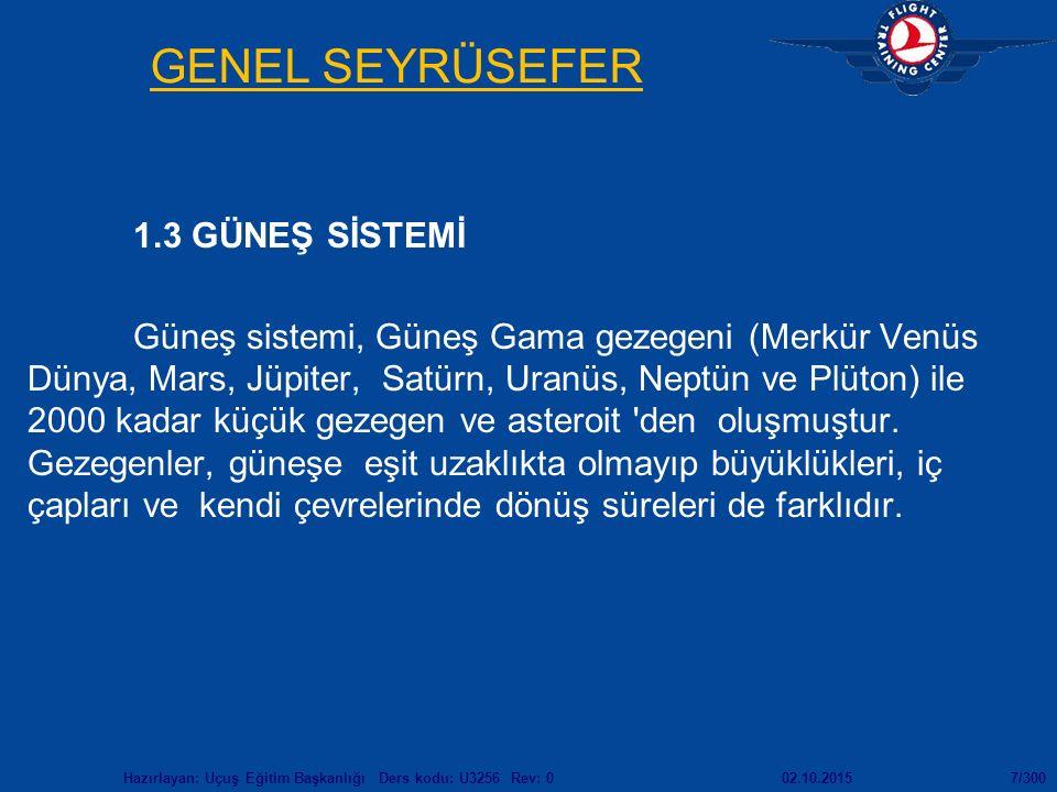GENEL SEYRÜSEFER 1.3 GÜNEŞ SİSTEMİ