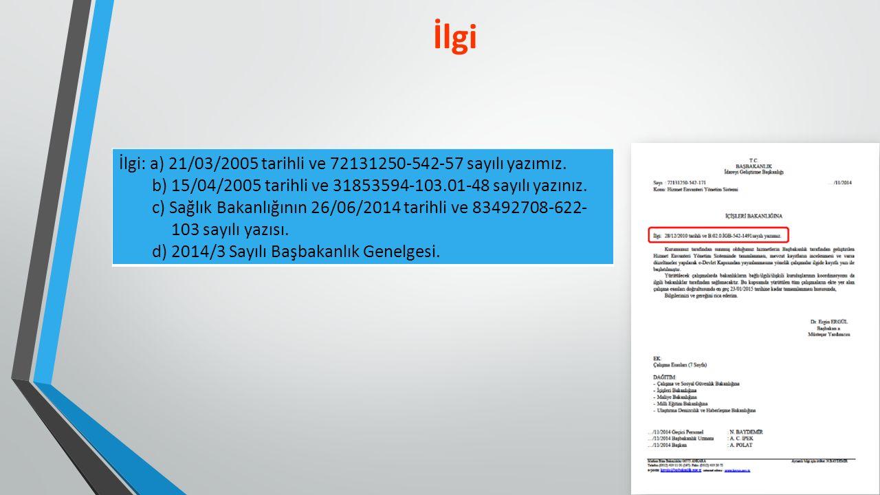 İlgi İlgi: a) 21/03/2005 tarihli ve 72131250-542-57 sayılı yazımız.