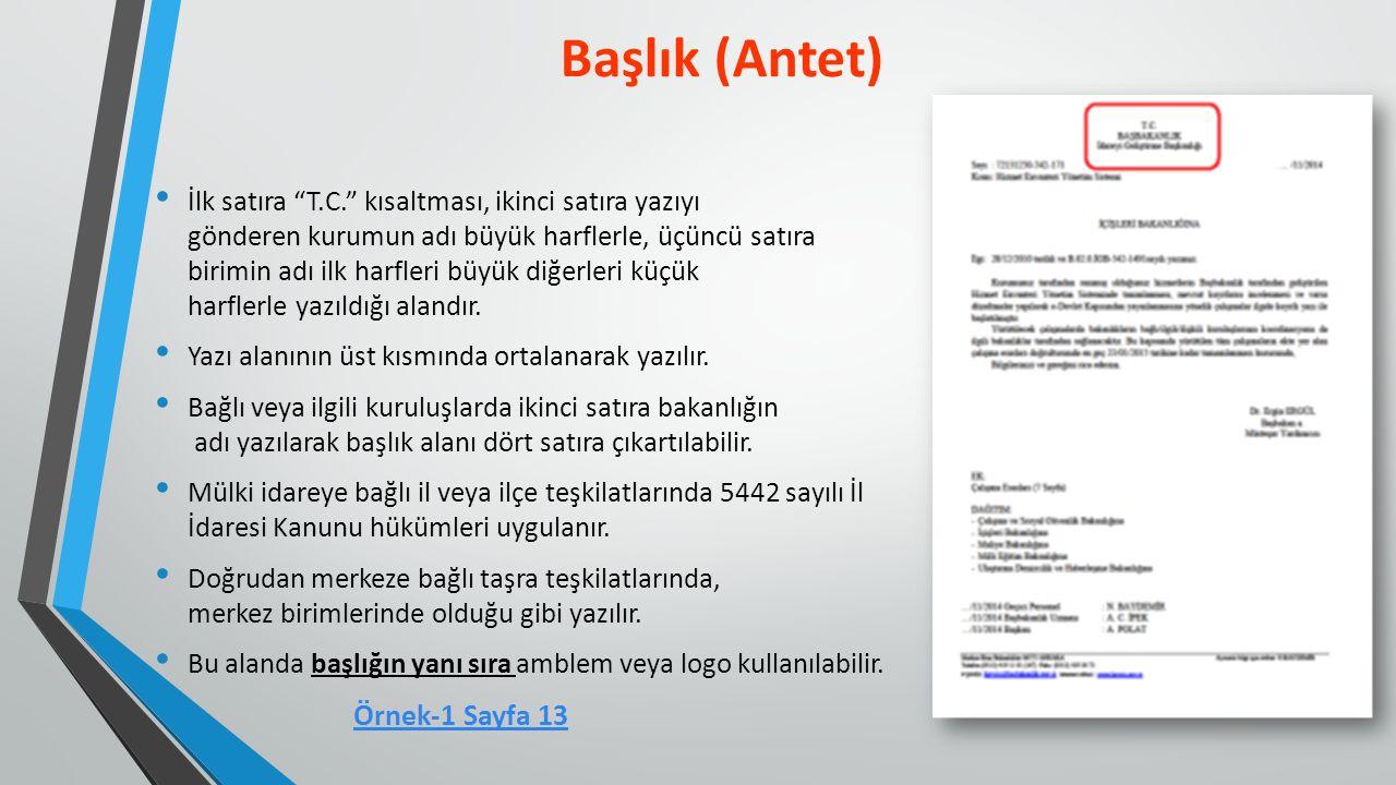 Başlık (Antet) Örnek-1 Sayfa 13