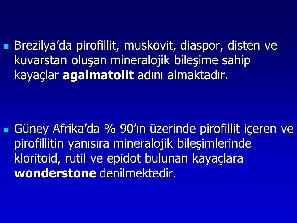 Brezilya'da pirofillit, muskovit, diaspor, disten ve kuvarstan oluşan mineralojik bileşime sahip kayaçlar agalmatolit adını almaktadır.