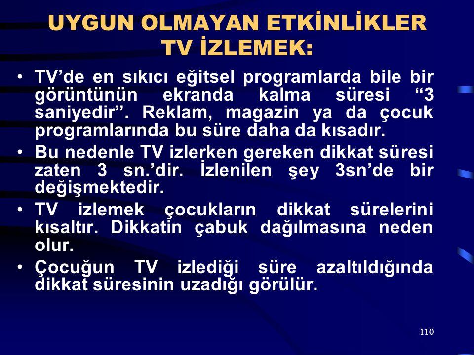 UYGUN OLMAYAN ETKİNLİKLER TV İZLEMEK: