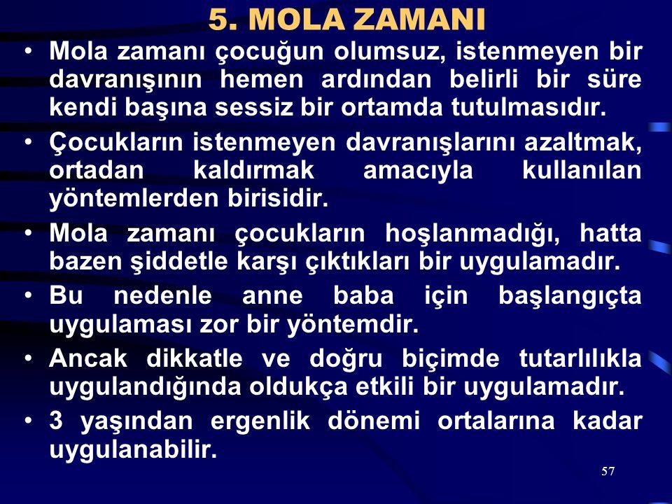5. MOLA ZAMANI Mola zamanı çocuğun olumsuz, istenmeyen bir davranışının hemen ardından belirli bir süre kendi başına sessiz bir ortamda tutulmasıdır.