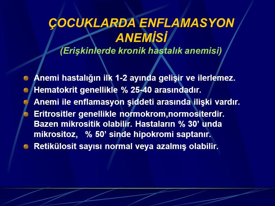 ÇOCUKLARDA ENFLAMASYON ANEMİSİ (Erişkinlerde kronik hastalık anemisi)