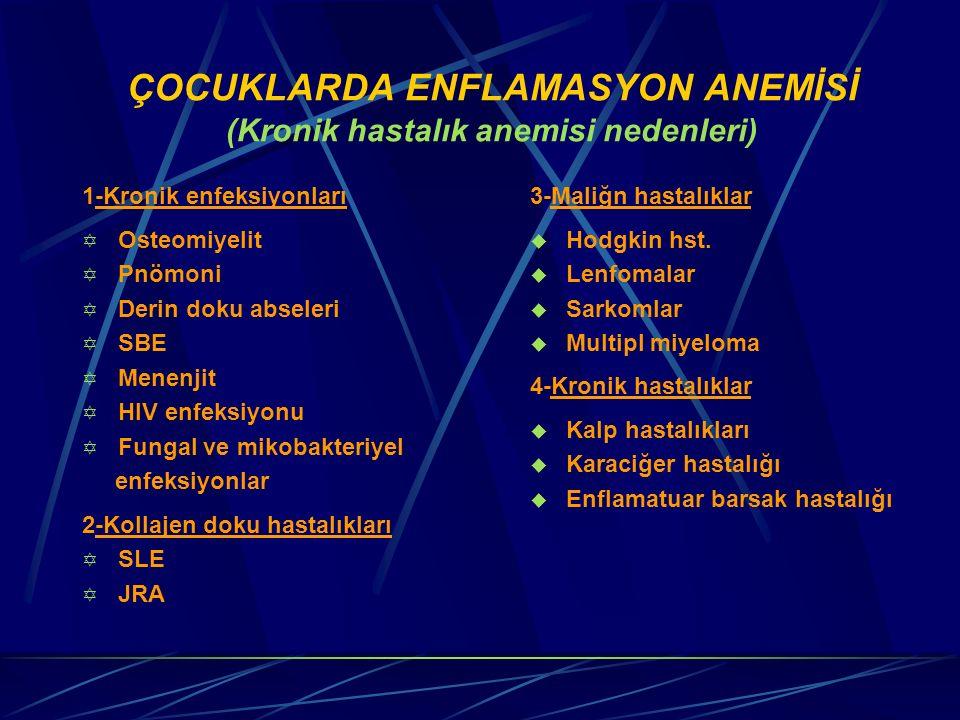 ÇOCUKLARDA ENFLAMASYON ANEMİSİ (Kronik hastalık anemisi nedenleri)