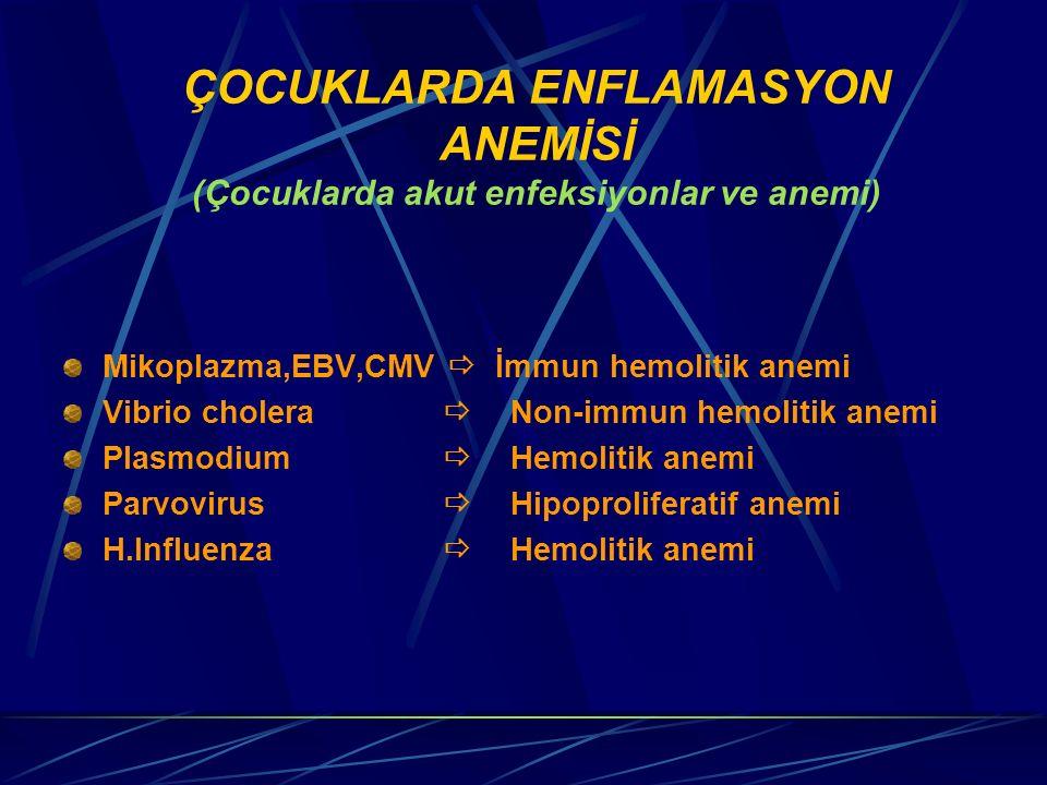 ÇOCUKLARDA ENFLAMASYON ANEMİSİ (Çocuklarda akut enfeksiyonlar ve anemi)