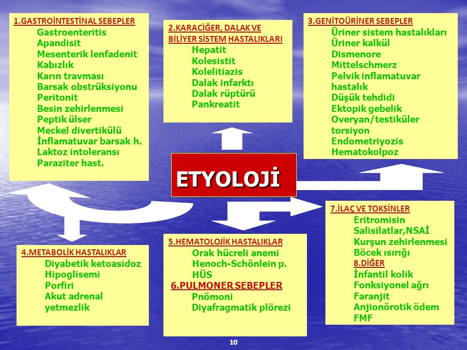 ETYOLOJİ 1.GASTROİNTESTİNAL SEBEPLER Gastroenteritis Apandisit