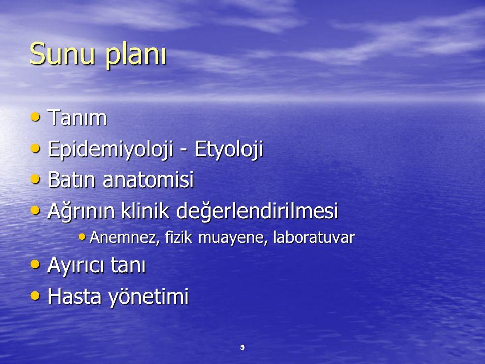Sunu planı Tanım Epidemiyoloji - Etyoloji Batın anatomisi