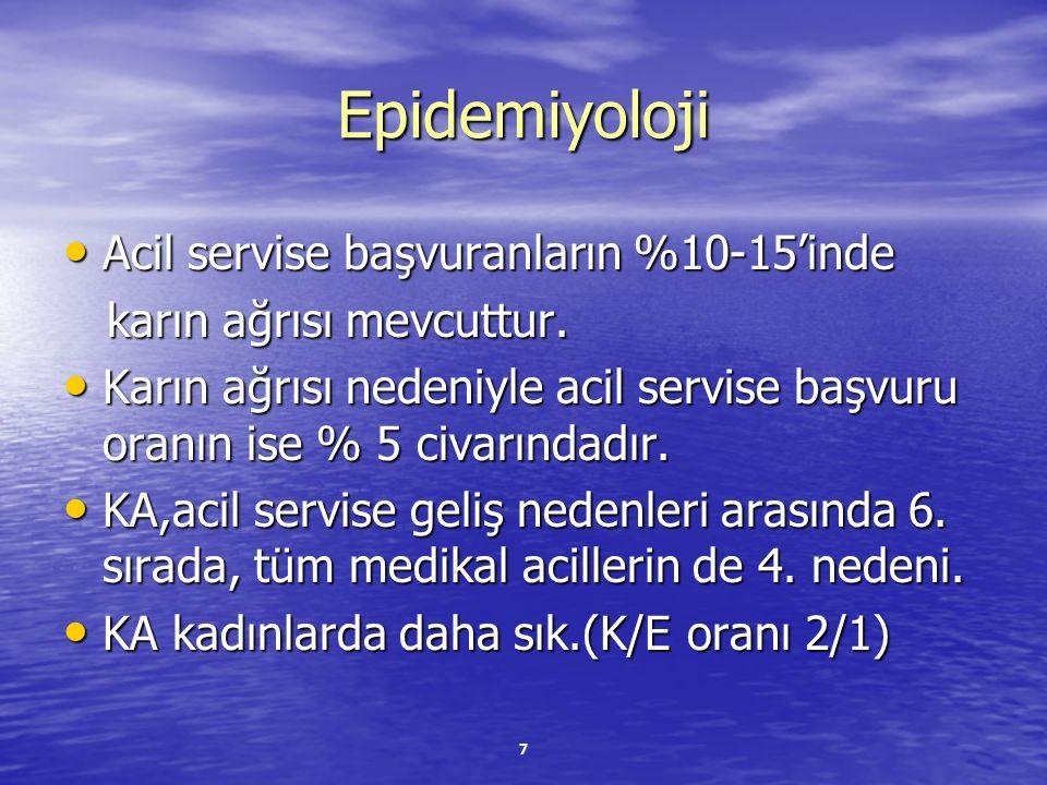 Epidemiyoloji Acil servise başvuranların %10-15'inde