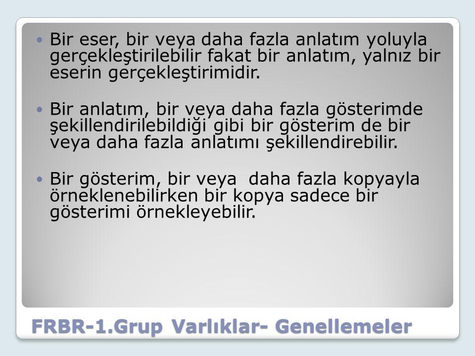 FRBR-1.Grup Varlıklar- Genellemeler