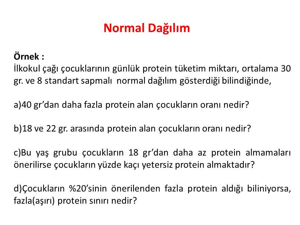 Normal Dağılım Örnek :