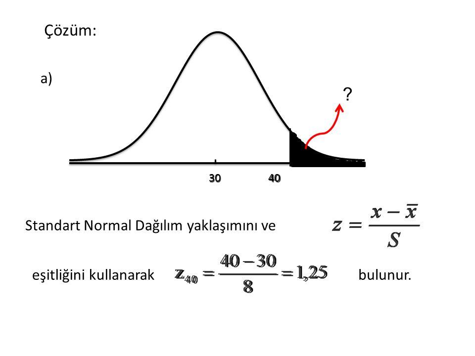 Çözüm: a) Standart Normal Dağılım yaklaşımını ve