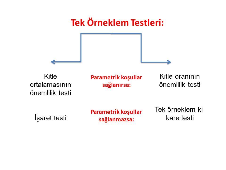 Parametrik koşullar sağlanırsa: Parametrik koşullar sağlanmazsa: