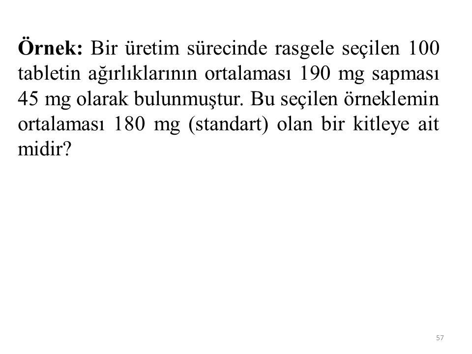 Örnek: Bir üretim sürecinde rasgele seçilen 100 tabletin ağırlıklarının ortalaması 190 mg sapması 45 mg olarak bulunmuştur.