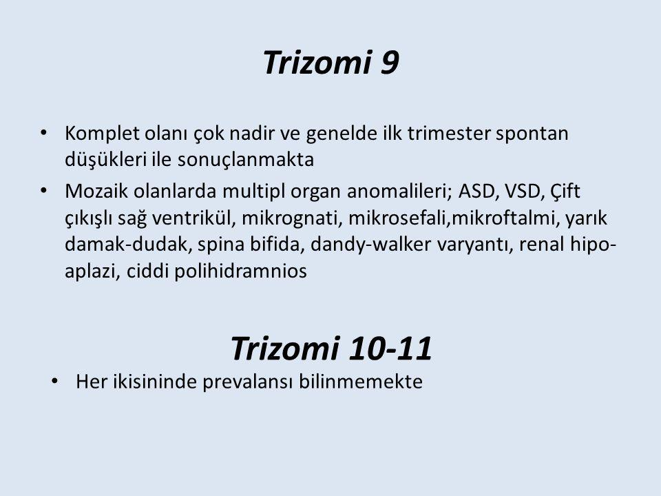 Trizomi 9 Komplet olanı çok nadir ve genelde ilk trimester spontan düşükleri ile sonuçlanmakta.