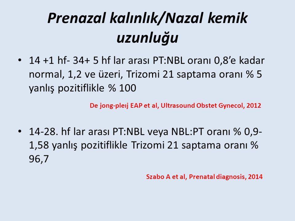 Prenazal kalınlık/Nazal kemik uzunluğu