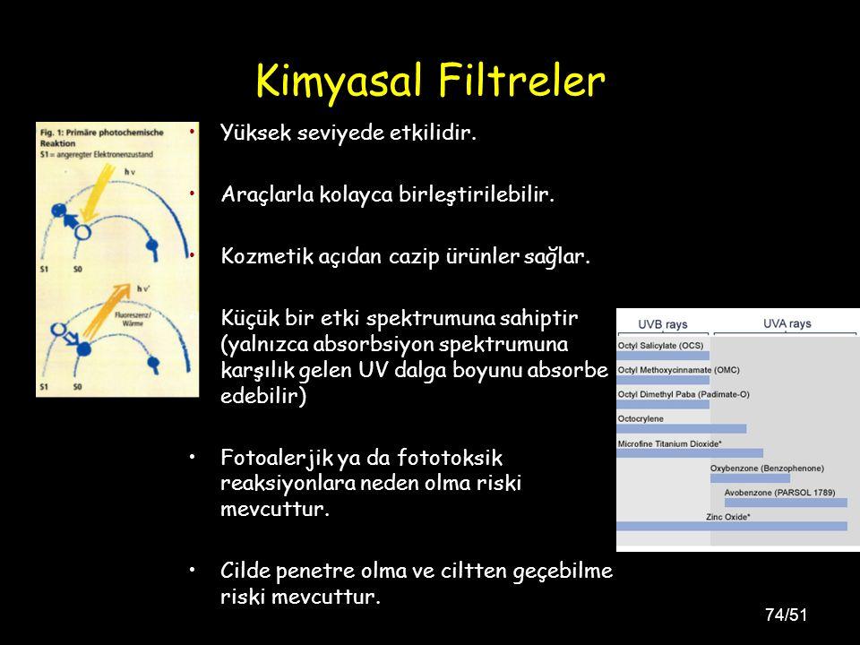 Kimyasal Filtreler Yüksek seviyede etkilidir.