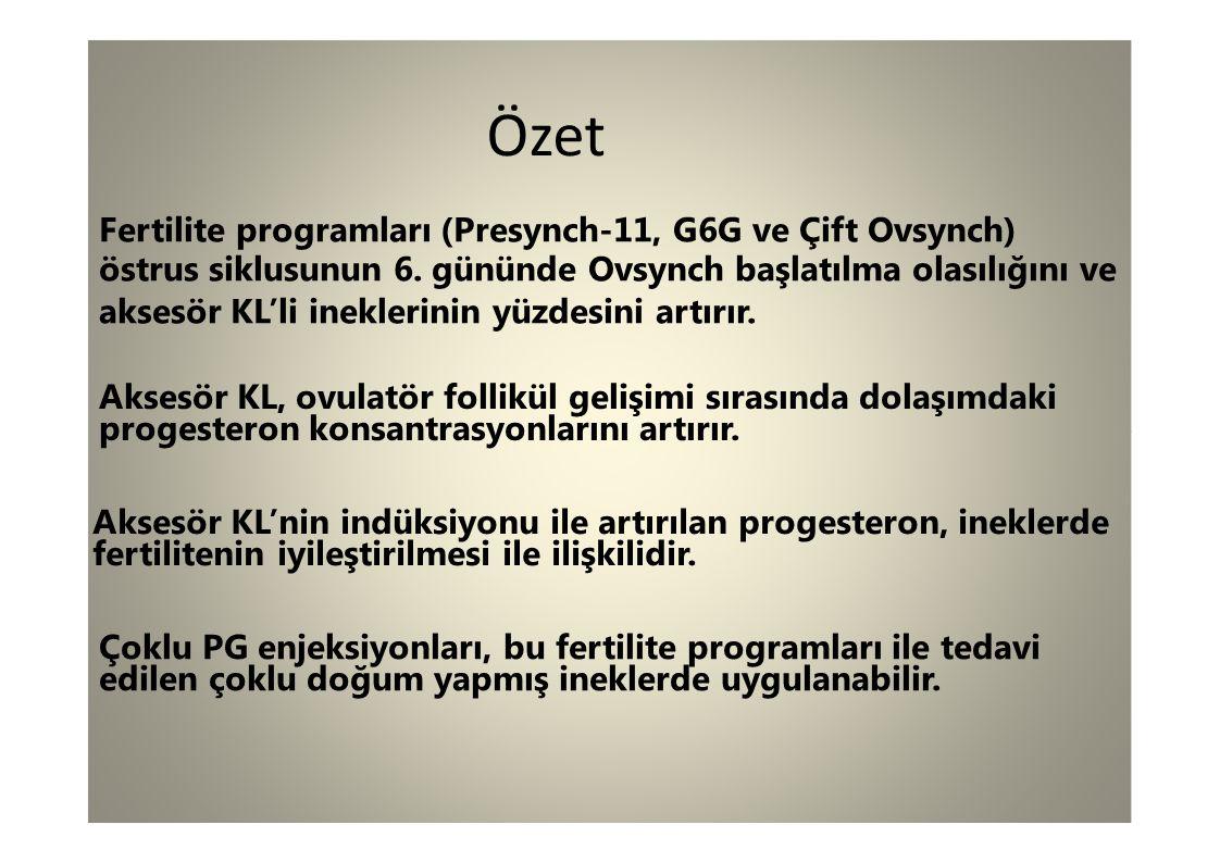 Özet Fertilite programları (Presynch-11, G6G ve Çift Ovsynch)
