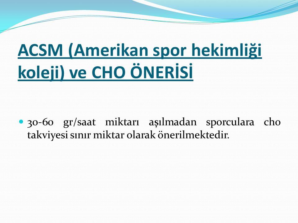 ACSM (Amerikan spor hekimliği koleji) ve CHO ÖNERİSİ