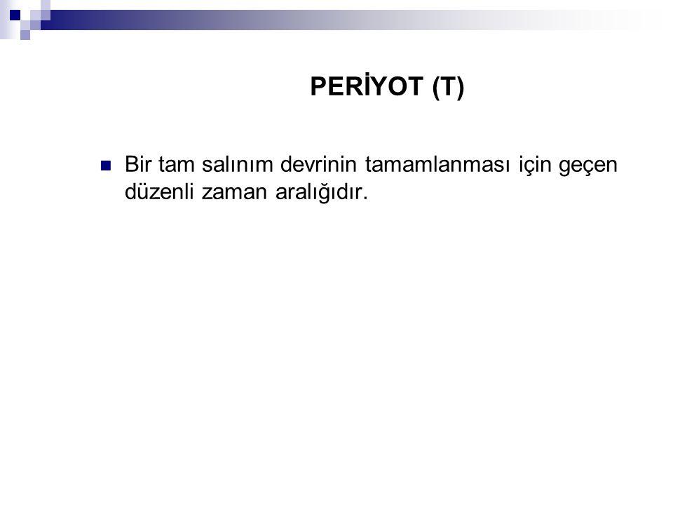 PERİYOT (T) Bir tam salınım devrinin tamamlanması için geçen düzenli zaman aralığıdır.