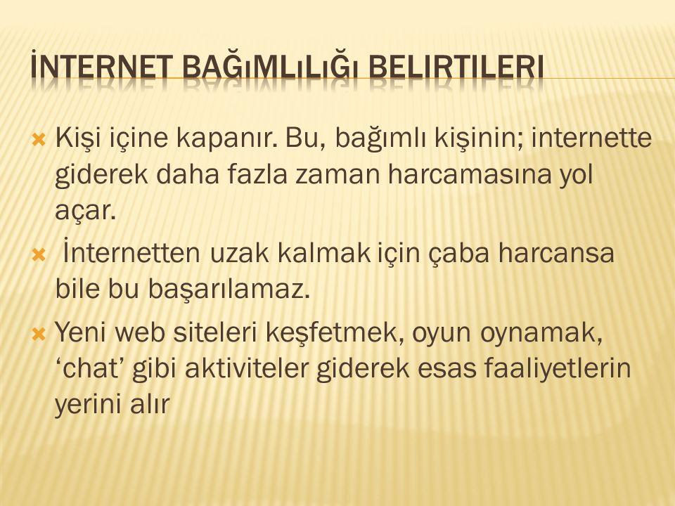 İnternet bağımlılığı belirtileri