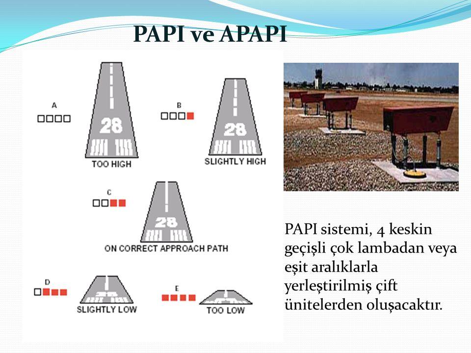 PAPI ve APAPI PAPI sistemi, 4 keskin geçişli çok lambadan veya eşit aralıklarla yerleştirilmiş çift ünitelerden oluşacaktır.