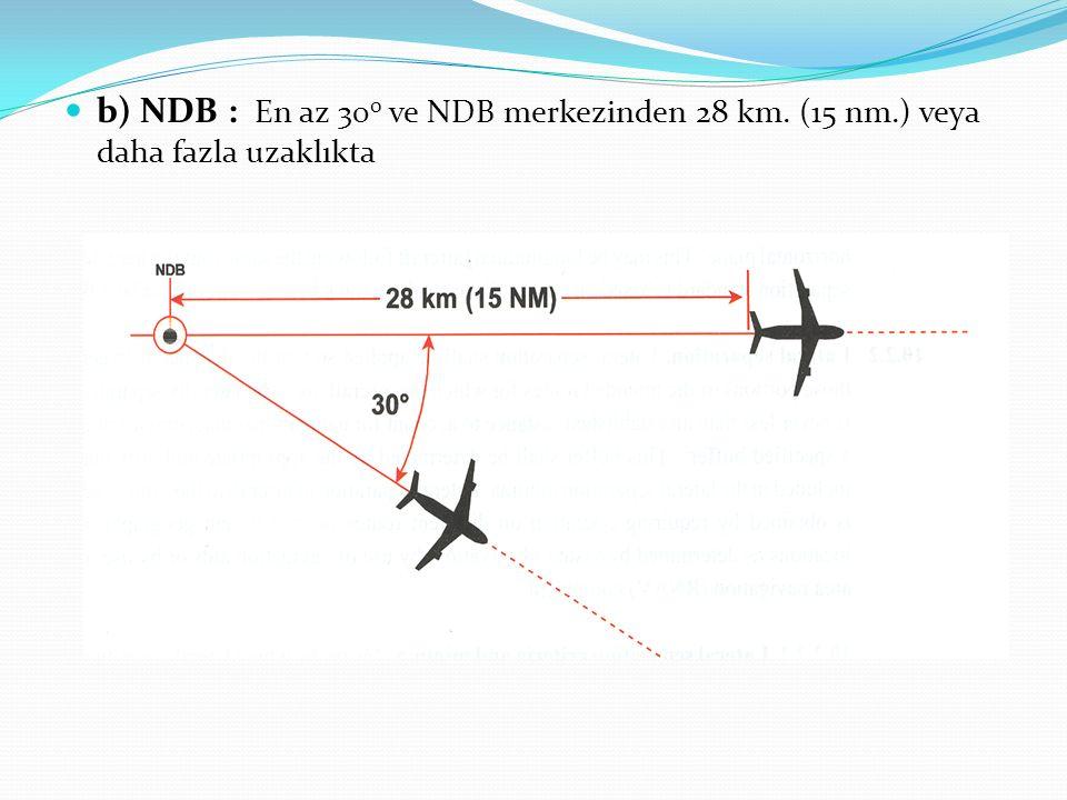 b) NDB : En az 300 ve NDB merkezinden 28 km. (15 nm