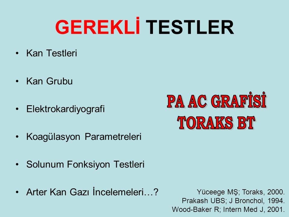 GEREKLİ TESTLER PA AC GRAFİSİ TORAKS BT Kan Testleri Kan Grubu