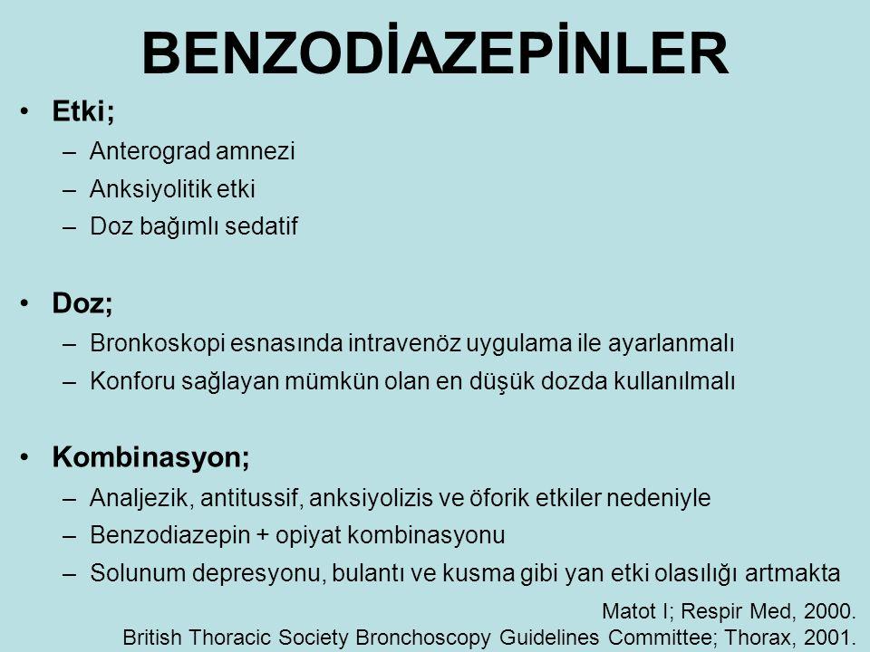 BENZODİAZEPİNLER Etki; Doz; Kombinasyon; Anterograd amnezi