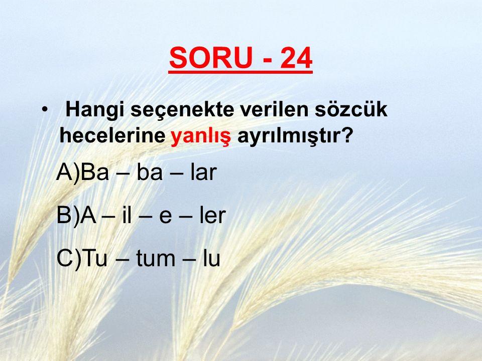 SORU - 24 Ba – ba – lar A – il – e – ler Tu – tum – lu