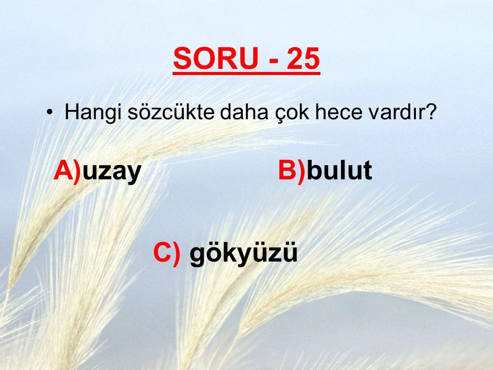 SORU - 25 A)uzay B)bulut C) gökyüzü