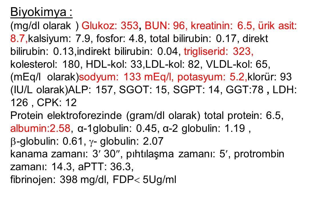 Biyokimya : (mg/dl olarak ) Glukoz: 353, BUN: 96, kreatinin: 6.5, ürik asit: 8.7,kalsiyum: 7.9, fosfor: 4.8, total bilirubin: 0.17, direkt.