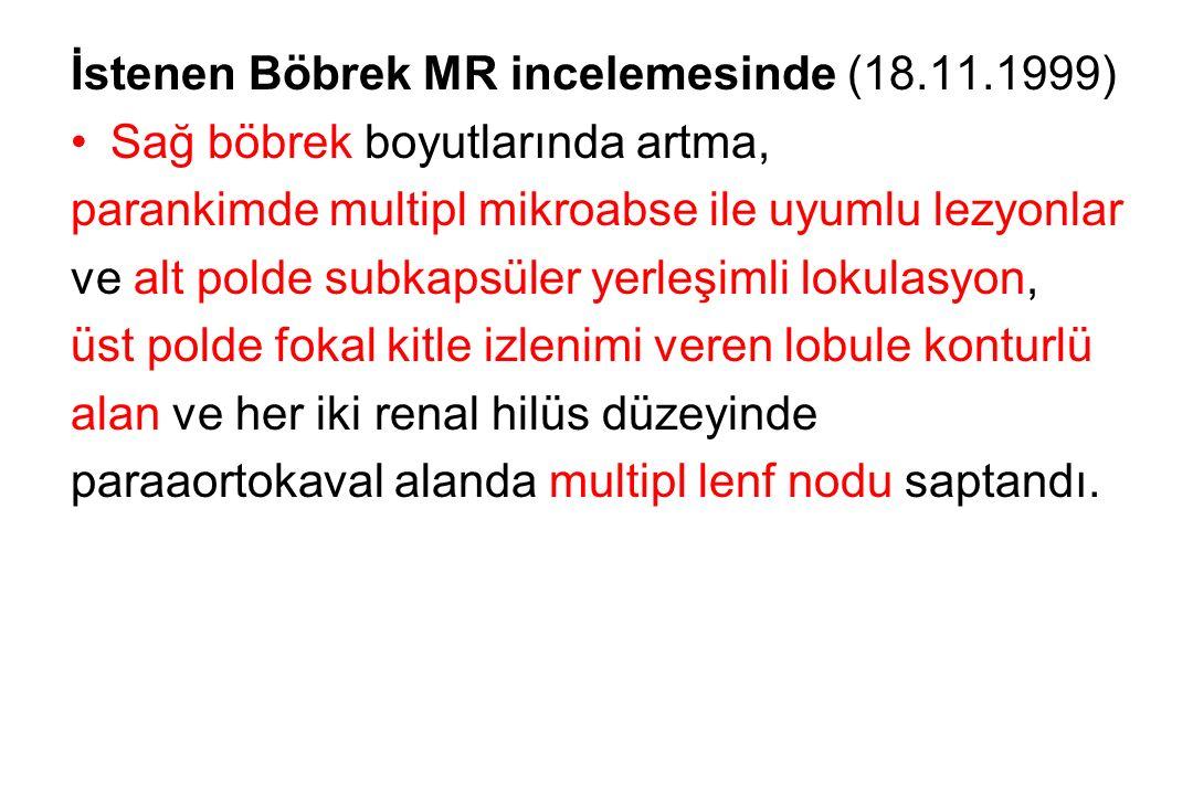 İstenen Böbrek MR incelemesinde (18.11.1999)