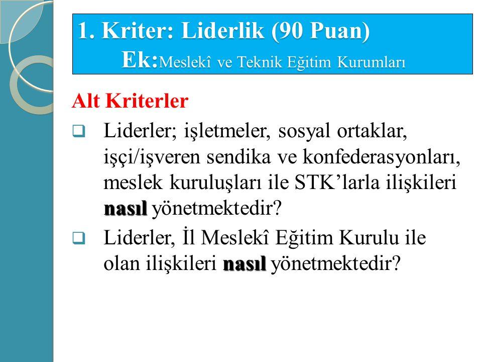 1. Kriter: Liderlik (90 Puan) Ek:Meslekî ve Teknik Eğitim Kurumları