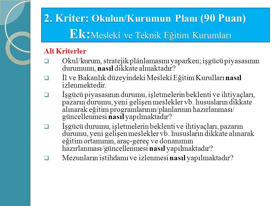 2. Kriter: Okulun/Kurumun Planı (90 Puan) Ek:Meslekî ve Teknik Eğitim Kurumları