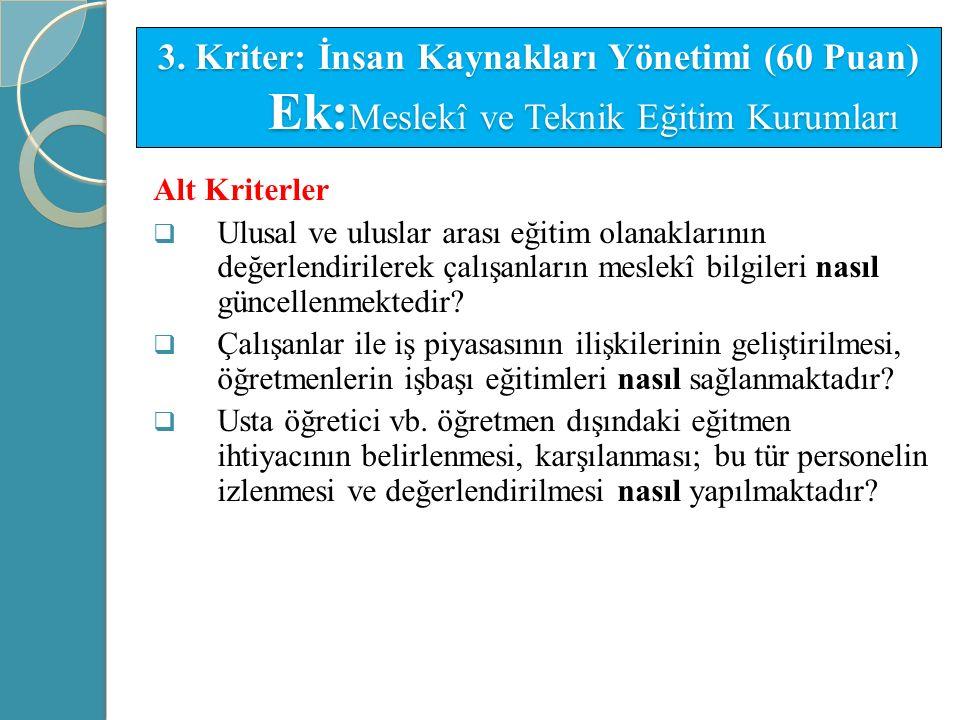 3. Kriter: İnsan Kaynakları Yönetimi (60 Puan) Ek:Meslekî ve Teknik Eğitim Kurumları