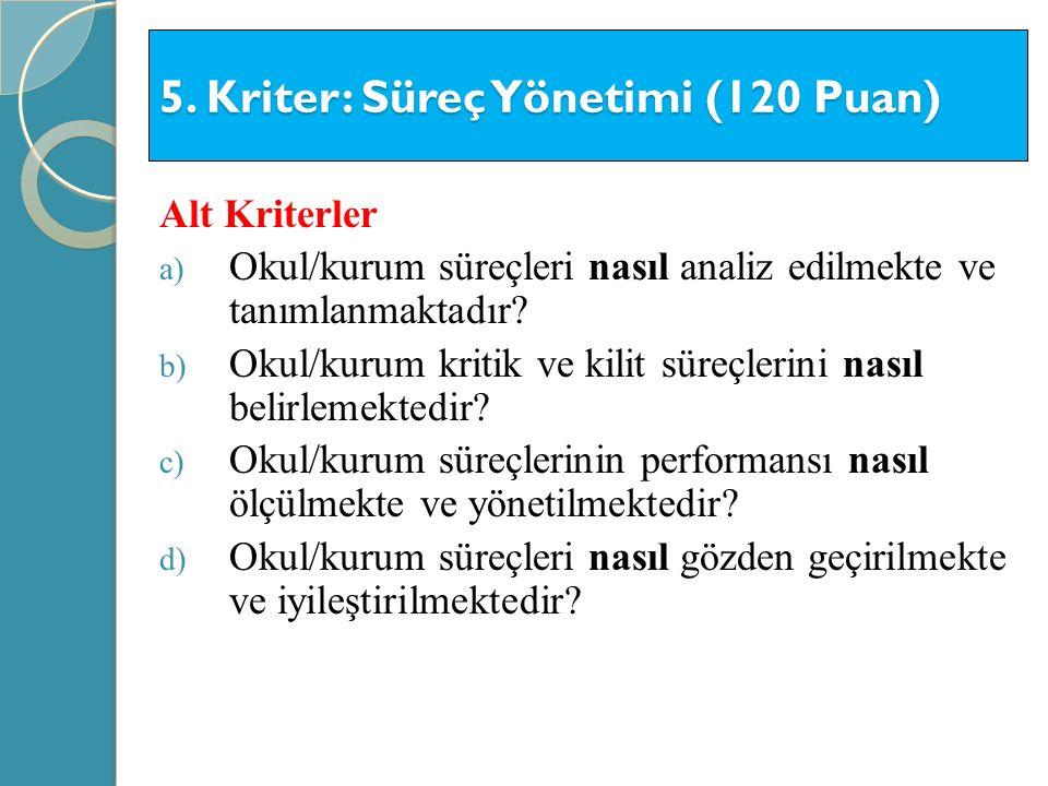 5. Kriter: Süreç Yönetimi (120 Puan)