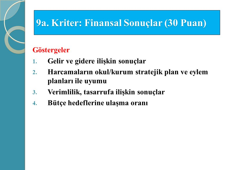 9a. Kriter: Finansal Sonuçlar (30 Puan)