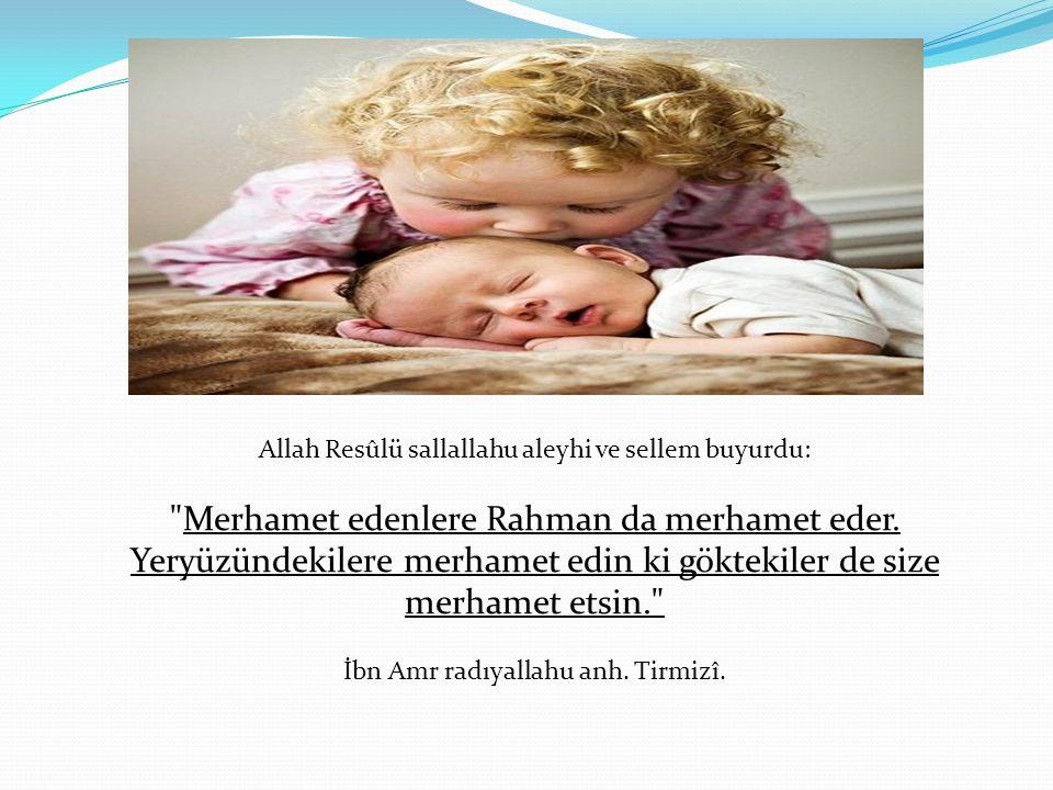 Allah Resûlü sallallahu aleyhi ve sellem buyurdu: Merhamet edenlere Rahman da merhamet eder.