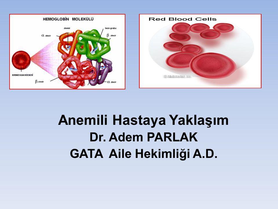 Anemili Hastaya Yaklaşım Dr. Adem PARLAK GATA Aile Hekimliği A.D.