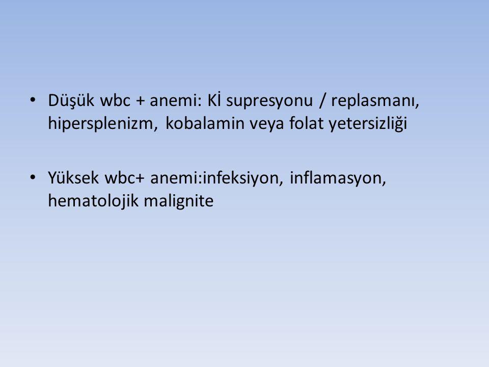 Düşük wbc + anemi: Kİ supresyonu / replasmanı, hipersplenizm, kobalamin veya folat yetersizliği