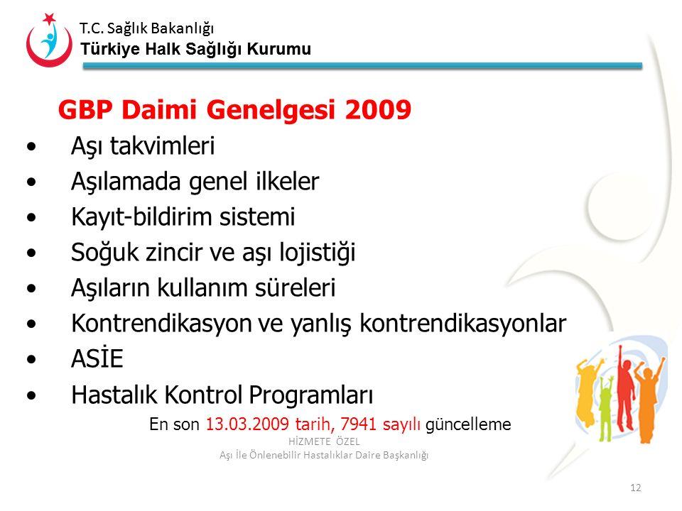 GBP Daimi Genelgesi 2009 Aşı takvimleri Aşılamada genel ilkeler