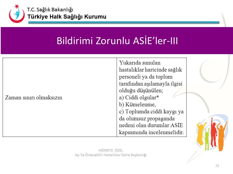 Bildirimi Zorunlu ASİE'ler-III