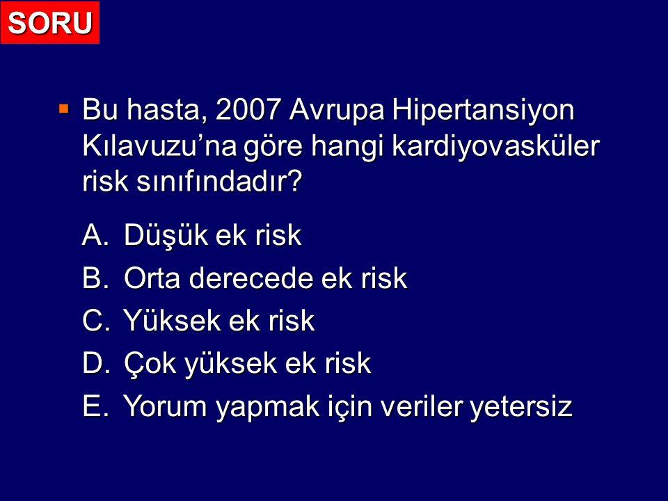 SORU Bu hasta, 2007 Avrupa Hipertansiyon Kılavuzu'na göre hangi kardiyovasküler risk sınıfındadır Düşük ek risk.