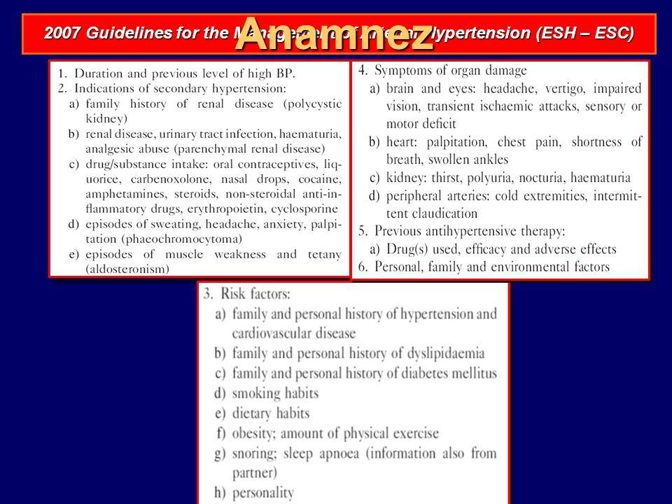 Anamnez 2007 Guidelines for the Management of Arterial Hypertension (ESH – ESC)