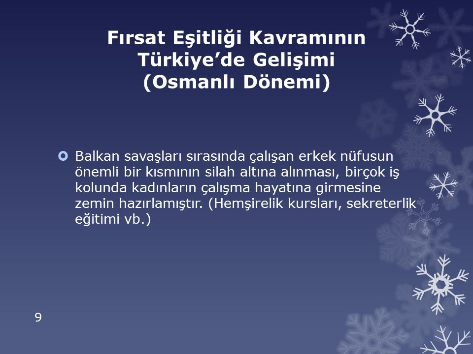 Fırsat Eşitliği Kavramının Türkiye'de Gelişimi (Osmanlı Dönemi)