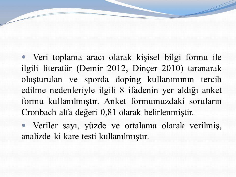 Veri toplama aracı olarak kişisel bilgi formu ile ilgili literatür (Demir 2012, Dinçer 2010) taranarak oluşturulan ve sporda doping kullanımının tercih edilme nedenleriyle ilgili 8 ifadenin yer aldığı anket formu kullanılmıştır. Anket formumuzdaki soruların Cronbach alfa değeri 0,81 olarak belirlenmiştir.