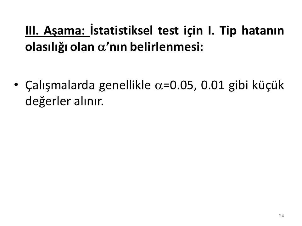 III. Aşama: İstatistiksel test için I