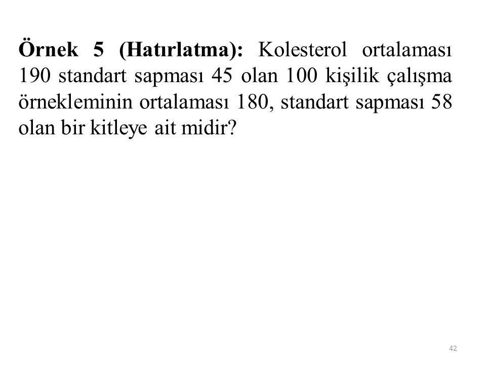 Örnek 5 (Hatırlatma): Kolesterol ortalaması 190 standart sapması 45 olan 100 kişilik çalışma örnekleminin ortalaması 180, standart sapması 58 olan bir kitleye ait midir