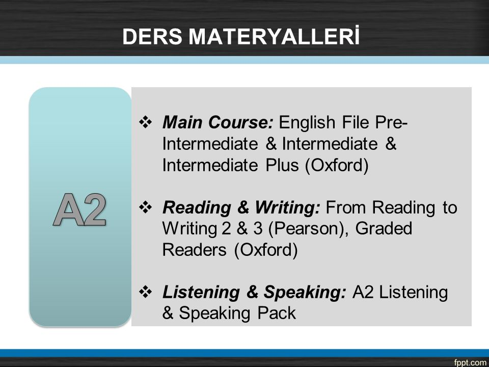 DERS MATERYALLERİ A2. Main Course: English File Pre-Intermediate & Intermediate & Intermediate Plus (Oxford)