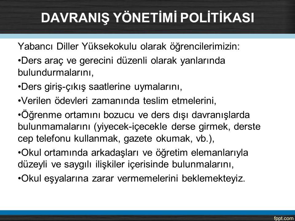 DAVRANIŞ YÖNETİMİ POLİTİKASI